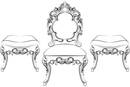 baroque furniture: Baroque Rich style furniture. Elegant chair set with luxurious ornaments. Vector sketch