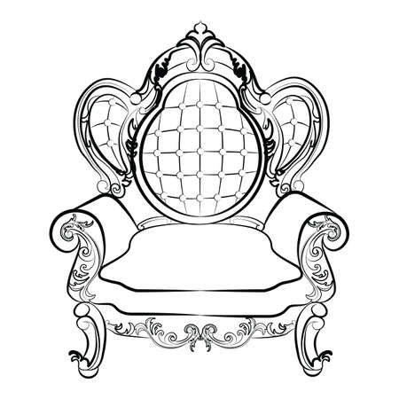 rococo style: Royal Armchair set in Baroque Rococo style with damask luxurious ornaments. Vector