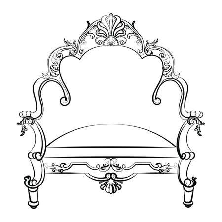 Królewski Imperial Fotel w stylu rokoko z adamaszku luksusowych ozdób. Wektor Ilustracje wektorowe