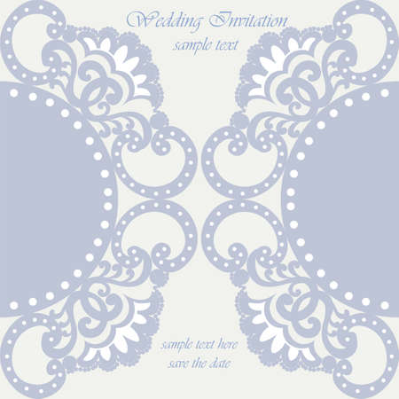 scrap: Vector invitation card ornamental lace with damask elements. Elegant lacy feather decoration, greeting card, wedding invitation or announcement, template. Serenity blue. Vector