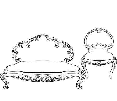 sofa set: Classic royal armchair and sofa set with luxurious ornaments . Vector sketch Illustration
