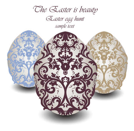 ornamented: Happy Easter card Illustration with ornamented classic Easter eggs. Vector Illustration