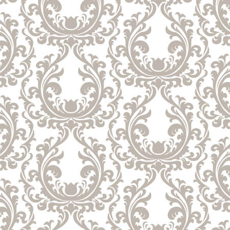 Vintage Floral ornament damask pattern. Elegant luxury texture for texture, fabric, wallpapers, backgrounds and invitation cards. Beige color. Vector