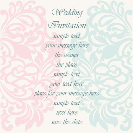 Hochzeitseinladungskarte mit Spitzenverzierung. Rosenquarz und Opal blaue Farbe. Vektor