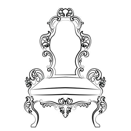 baroque furniture: Baroque luxury style furniture. Chair set with luxurious rich ornaments. Vector sketch