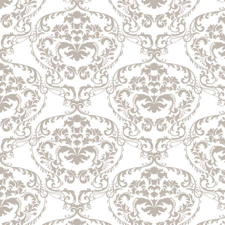 taupe: Vector baroque damask delicate ornament pattern. Elegant luxury texture for textile, fabrics or wallpapers backgrounds. Taupe color Illustration