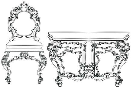 baroque furniture: Baroque luxury style furniture. Table and chair set with luxurious rich ornaments. Vector sketch Illustration