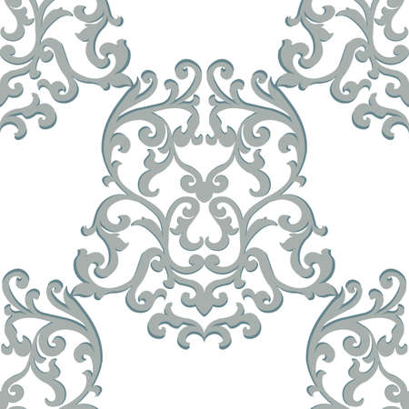 neoclassical: Vector Vintage Classic Damask Pattern element Imperial style. Ornate floral ornament for fabric, textile, design, wedding invitations, greeting cards, wallpaper. Puritan gray color Illustration