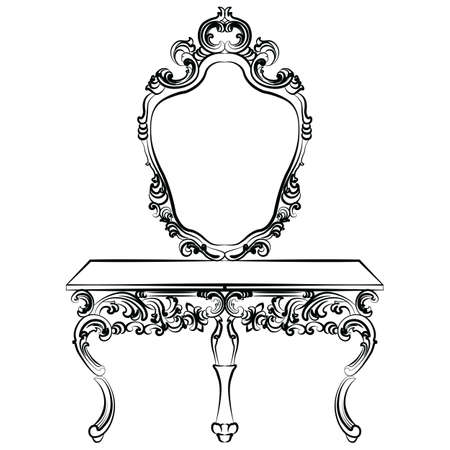 dinning table: Baroque luxury style furniture. Dressing table with mirror and chair set with luxurious rich ornaments. Vector sketch