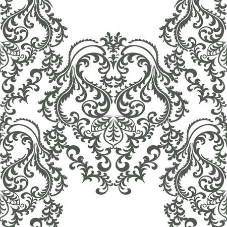 taupe: Vector Baroque floral damask ornament pattern. Elegant luxury texture for textile, fabrics or wallpapers backgrounds. taupe color Illustration
