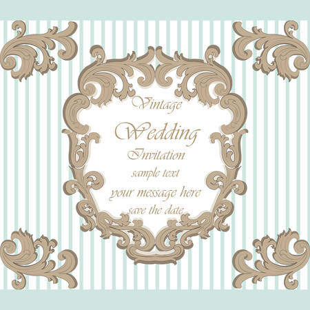 opal: Wedding Invitation card with classic royal ornament. Opal blue color. Vector