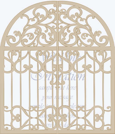 duality: Wedding Invitation card in shape of a cage with lace ornament. Beige color. Vector Illustration