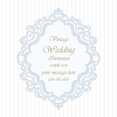 duality: Wedding Invitation card with lace ornament. Blue serenity color. Vector
