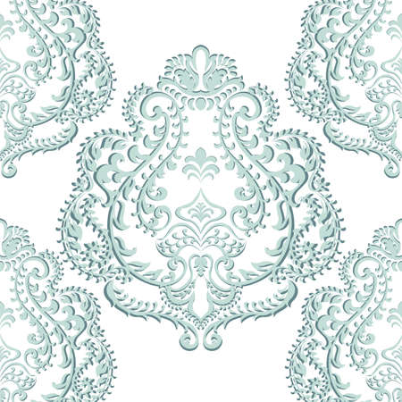 opal: Vector Baroque floral damask ornament pattern. Elegant luxury texture for textile, fabrics or wallpapers backgrounds. opal blue color Illustration