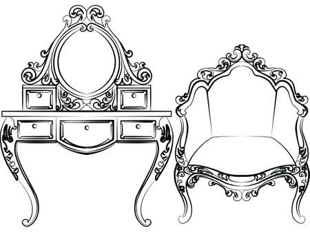 dressing table: Dressing table and armchair set. Elegant furniture with rich ornaments. Baroque Luxury style furniture. Vector Illustration