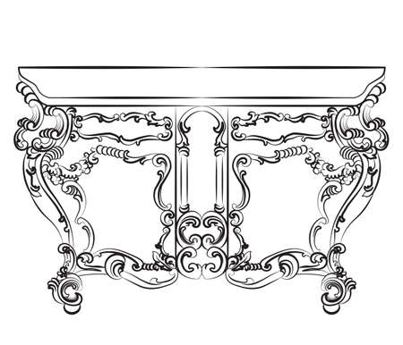 baroque furniture: Baroque luxury style furniture. Table with luxurious rich ornaments. Vector sketch