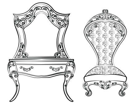 baroque furniture: Dressing table and armchair. Original shape decorated with luxury ornaments. Elegant furniture with rich ornaments. Baroque Luxury style furniture. Vector