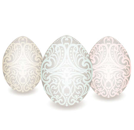 ornamented: Happy Easter ornamented classic Easter eggs. Vector Illustration