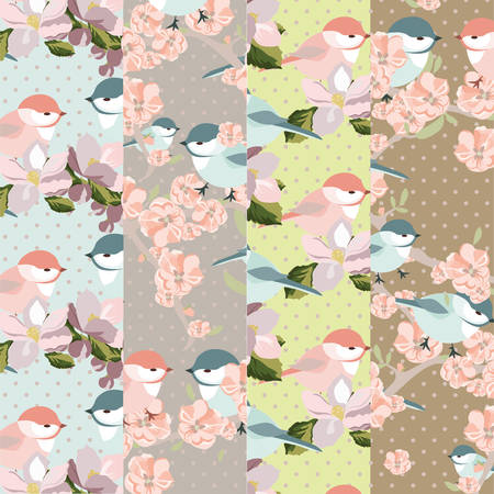 revive: Vintage pattern set of Watercolor Blooming Flowers and birds. Vintage texture collection for textile, texture, wallpaper, invitation, greeting cards, wedding etc