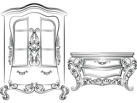 baroque furniture: Glass case and commode table. Elegant furniture with drawers rich ornamented. Baroque Luxury style furniture. Vector