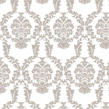 taupe: Vector damask pattern ornament. Elegant luxury texture for wallpapers, fabrics or texture backgrounds. Exquisite floral baroque elements. Taupe color Illustration