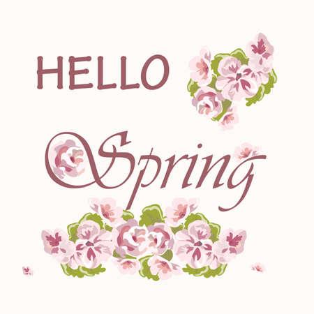 quartz: Hello Spring text background with delicate pink flowers. Rose quartz colors. Vector Illustration