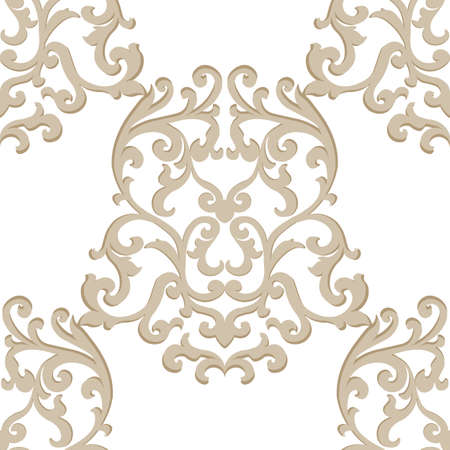 Vector Vintage Classic Damask Pattern element Imperial style. Ornate floral ornament for fabric, textile, design, wedding invitations, greeting cards, wallpaper. Gold color