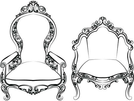 baroque furniture: Elegant armchair set with luxurious rich ornaments. Baroque Imperial luxury style furniture. Vector Illustration