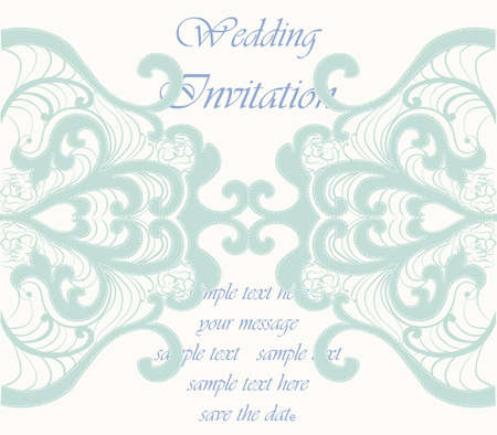 duality: Wedding Invitation card with lace ornament. Opal blue color. Vector Illustration