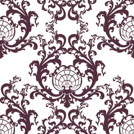 Vintage Vector Floral Baroque Rococo ornament damask pattern. Elegant luxury texture for texture, fabric, wallpapers, backgrounds and invitation cards. Red color Vector Illustration