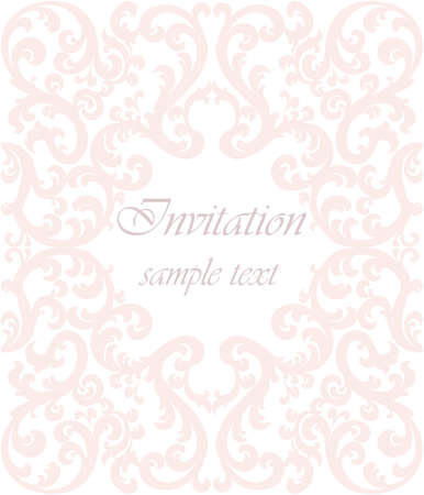 duality: Wedding Invitation card with lace ornament. Rose quartz color. Vector Illustration