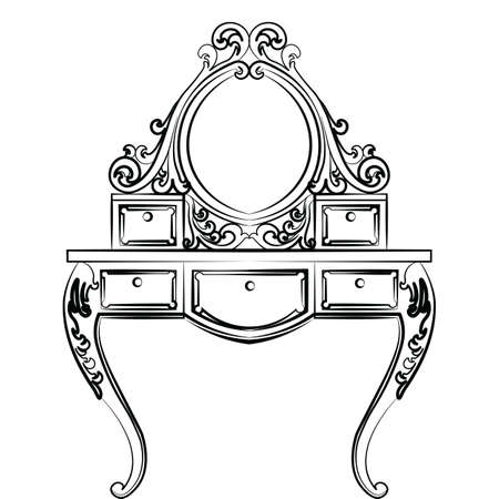 baroque room: Dressing table in round shape with rich ornaments. Elegant furniture with rich ornaments. Baroque Luxury style furniture. Vector