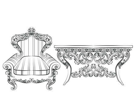 baroque furniture: Baroque Imperial luxury style furniture. Elegant armchair and table set with luxurious rich ornaments. Vector sketch