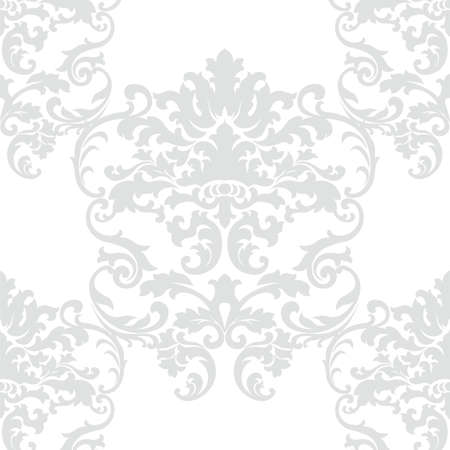 opal: Vector floral damask baroque ornament pattern element. Elegant luxury texture for textile, fabrics or wallpapers backgrounds. Opal gray color Illustration