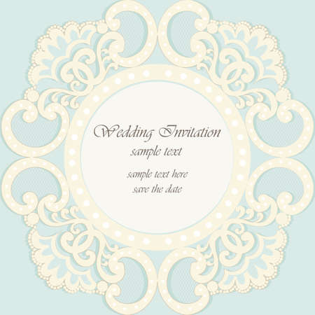 opal: Vector invitation card ornamental lace with damask elements. Elegant lacy feather decoration, greeting card, wedding invitation or announcement, template. Cream and opal blue. Vector