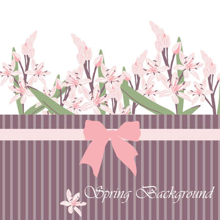 spring time: Spring Time Card with pink flowers and bow. Vector Illustration