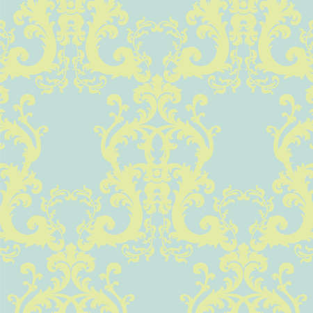 Vector Baroque floral damask ornament pattern element. Elegant luxury texture for textile, fabrics or wallpapers backgrounds. Luminary Green color Illustration