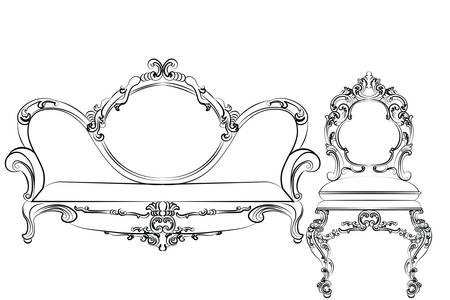 baroque furniture: Sofa. couch furniture. Baroque Royal luxury style furniture with rich ornaments. Vector