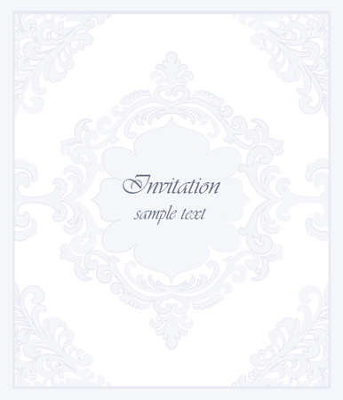Vector Vintage Classic Invitation card Imperial style. Floral ornament background for design, wedding invitations, greeting cards, wallpaper. Serenity blue color