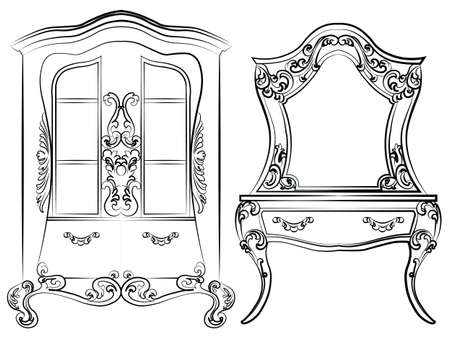 dressing table: Glass case and dressing table set. Elegant furniture with drawers rich ornamented. Baroque Luxury style furniture. Vector Illustration