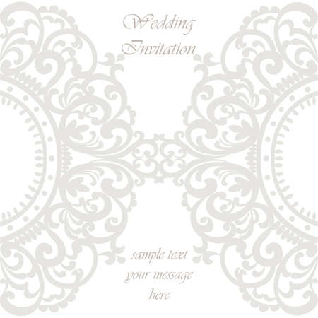 duality: Wedding Invitation card with lace ornament. Silver gray color. Vector Illustration