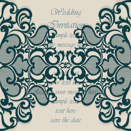 結婚式の招待カード レース飾りと。北極緑色。ベクトル
