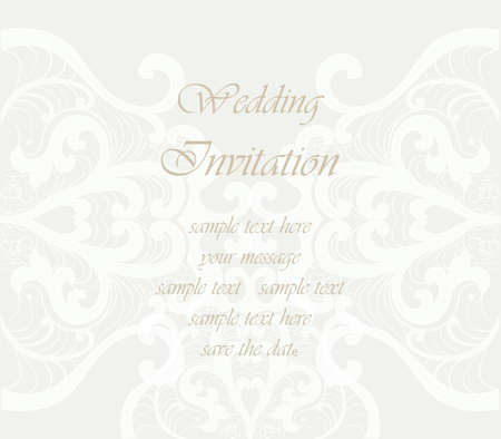 duality: Wedding Invitation card with lace ornament. Beige color. Vector