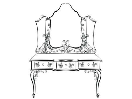 dressing table: Baroque Royal luxury style furniture. Dressing table and mirror set with luxurious rich ornaments. Vector