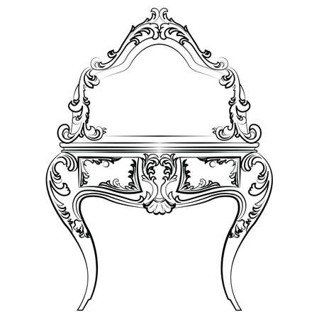 dressing table: Dressing table with mirror in classic baroque style with luxurious ornaments. Vector sketch Illustration