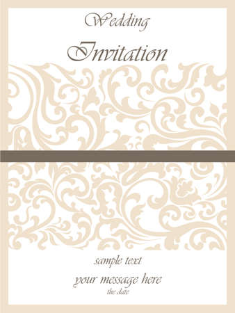 duality: Wedding Invitation card with lace ornament. Gold cream color. Vector Illustration