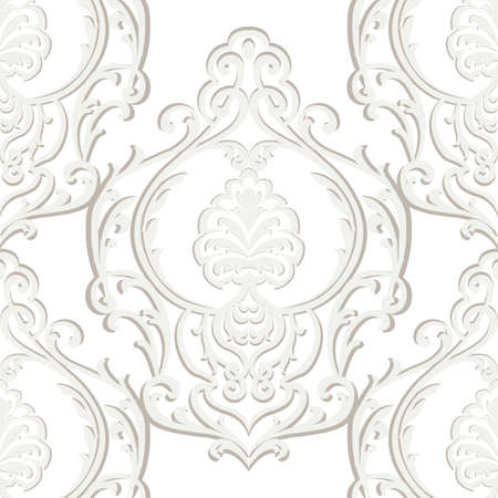 Vector Vintage Baroque Damask Pattern element Imperial style. Ornate floral ornament for fabric, textile, design, wedding invitations, greeting cards, wallpaper. Beige color