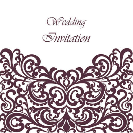 purple fig: Wedding Invitation card with lace ornament. Purple Fig color. Vector