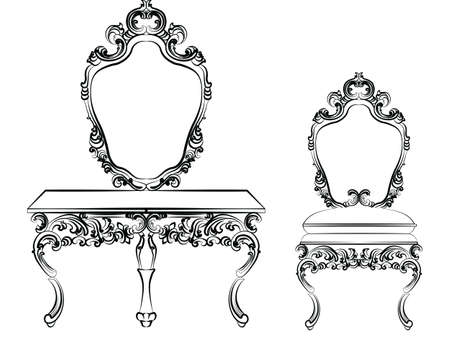 dressing table: Baroque luxury style furniture. Dressing table with mirror and chair set with luxurious rich ornaments. Vector sketch