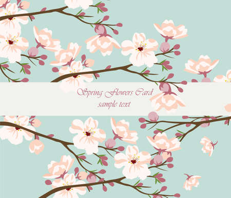 revive: Vintage Watercolor Background with Blooming Cherry Flowers. Flower blossom tree branch on blue color. Vintage background for textile, texture, wallpaper, invitation, greeting cards, wedding etc